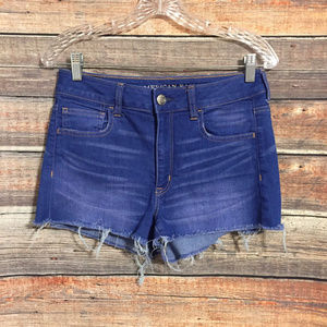 American eagle frayed super stretch shortie shorts